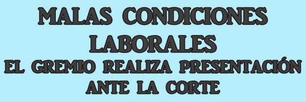 MALAS CONDICIONES LABORALES – EL GREMIO REALIZA PRESENTACIÓN ANTE LA CORTE